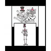 Настінний Декор скелет у капелюсі (100см)