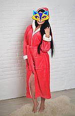 Халат махровый длинный с капюшоном р.42-52, фото 3