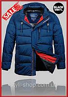 Теплая зимняя мужская куртка Black Vinyl (z930-1) куртки мужские, спортивная мужская куртка, Темно синий