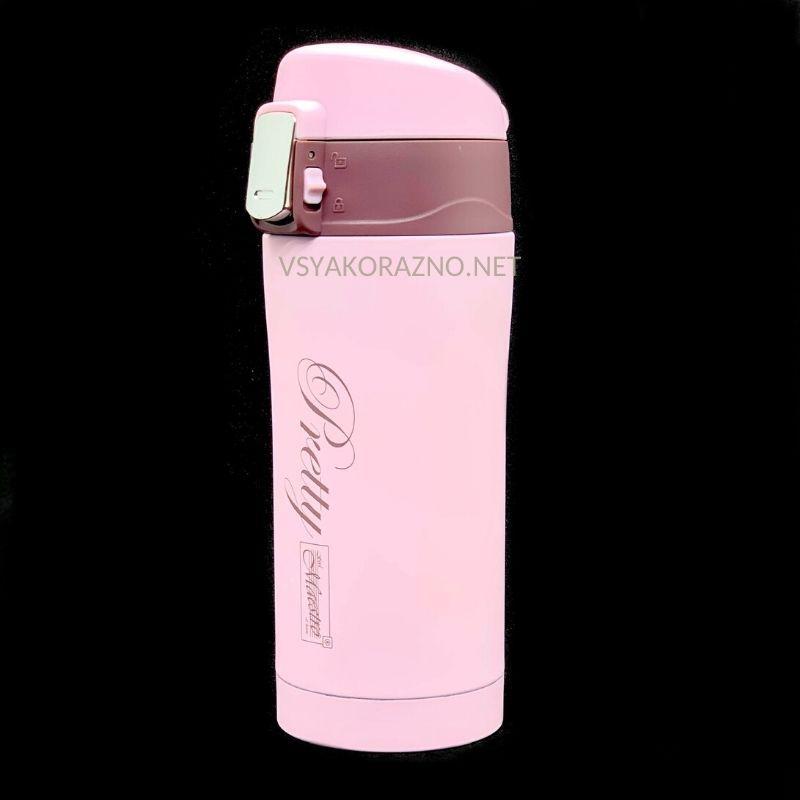 Металлический термос - Термокружка 300 мл / Металевий термос (розовый)