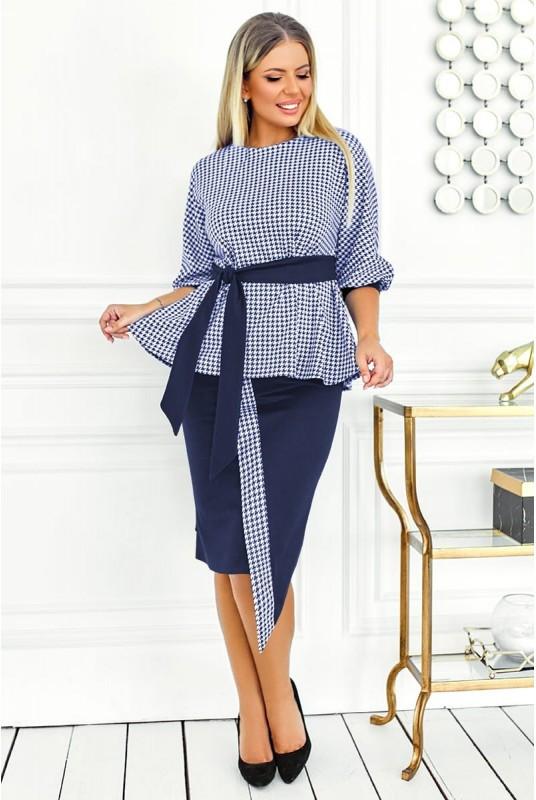 Трикотажный модный женский костюм с юбкой большого размера