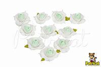 Цветы Розы бело-мятные из фоамирана 4 см 10 шт/уп