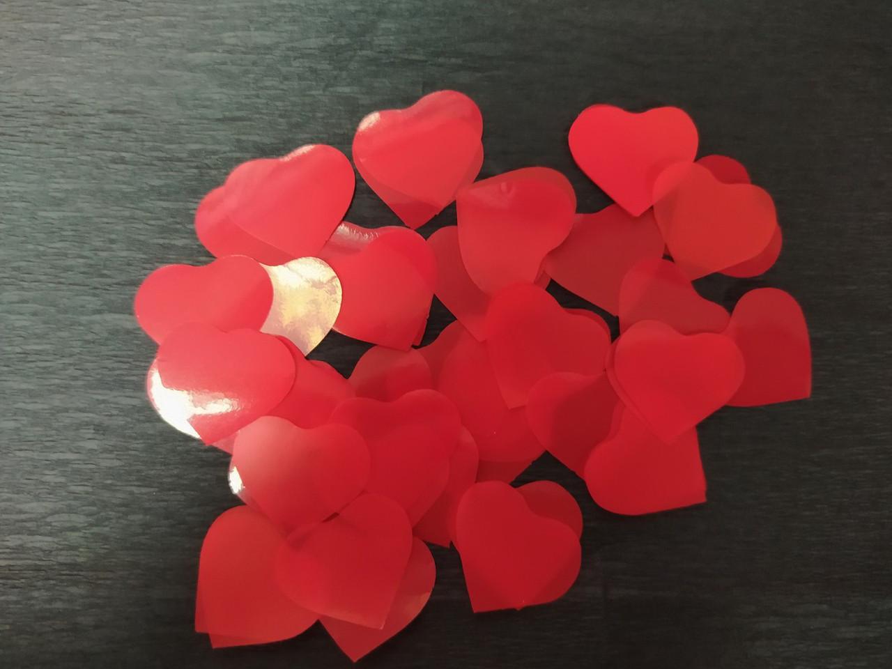 Аксесуари для свята конфеті сердечка червоний 23мм 100гр