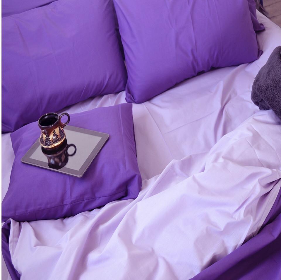 Комплект постельного белья  Бязь GOLD 100% хлопок Фиолетово - сиреневый