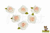 Цветы Розы бело-персиковые из фоамирана (латекса) 4 см 10 шт/уп