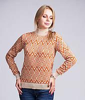 Теплый джемпер из шерстяной пряжи связан плотным жаккардовым двойным узором