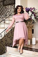 Нарядное женское платье с асимметричным подолом и поясом из пайеток батал, размеры 50-52, 54-56, 58