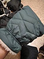 Муфта стеганая рукавички варежки для коляски светло-бирюзовый, светлая бирюза