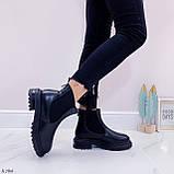 Женские ботинки ЗИМА черные эко кожа, фото 2
