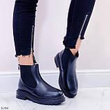 Женские ботинки ЗИМА черные эко кожа, фото 4