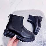Женские ботинки ЗИМА черные эко кожа, фото 6