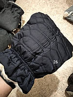 Муфта стеганая рукавички варежки для коляски темно-синий, черно-синий.