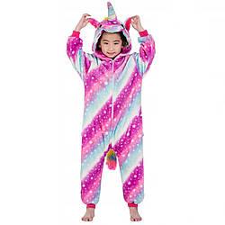 Піжама кигуруми рожевий Єдиноріг для дівчаток цілісна дитяча піжама комбінезон кигуруми, зріст 130