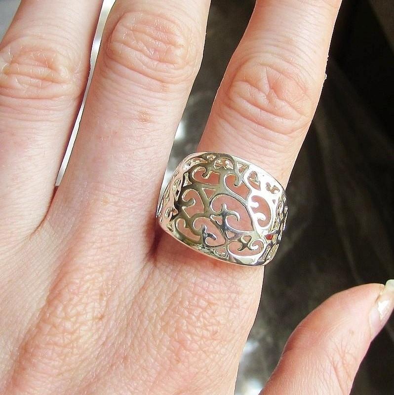 Посеребрённое ажурное кольцо в 925, 18 р. Альбина