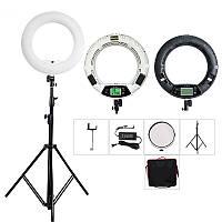 Кольцевая светодиодная LED лампа Yidoblo FE-480 ll с пультом ДУ, стойкой, зеркалом 18'' 45 см 98W