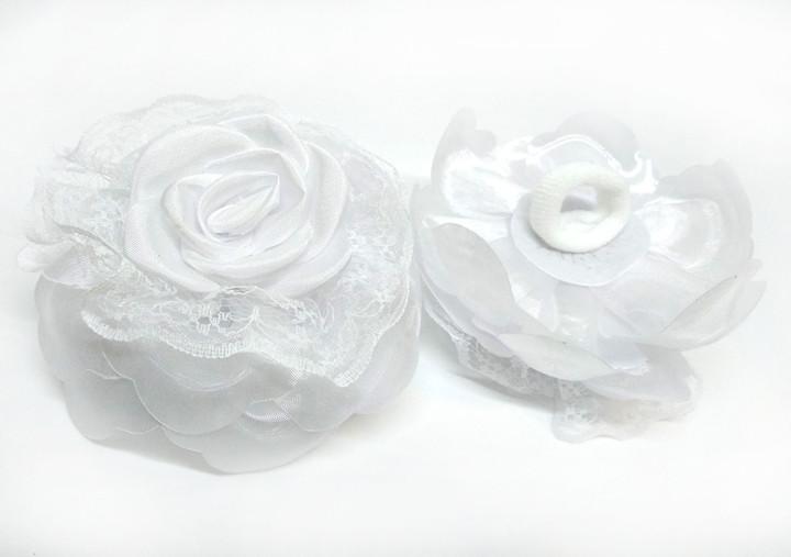 Бант на резинке Цветок белый 2 шт