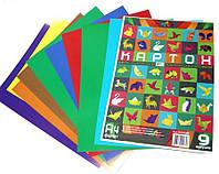 Картон ЦВЕТНОЙ, 9 листов, А4, ДВОЙКА-ОРИГАМИ-ДВУХЦВЕТНЫЙ, мелованный, в прозрачной упаковке.