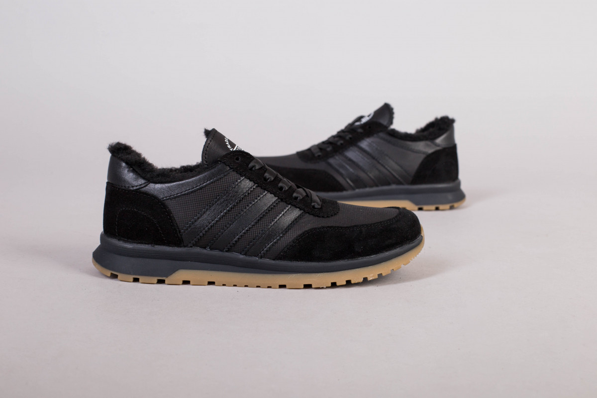 Кроссовки мужские кожаные черные с вставками замши, зимние