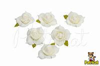 Цветы Розы белые из фоамирана (латекса) 4 см 10 шт/уп