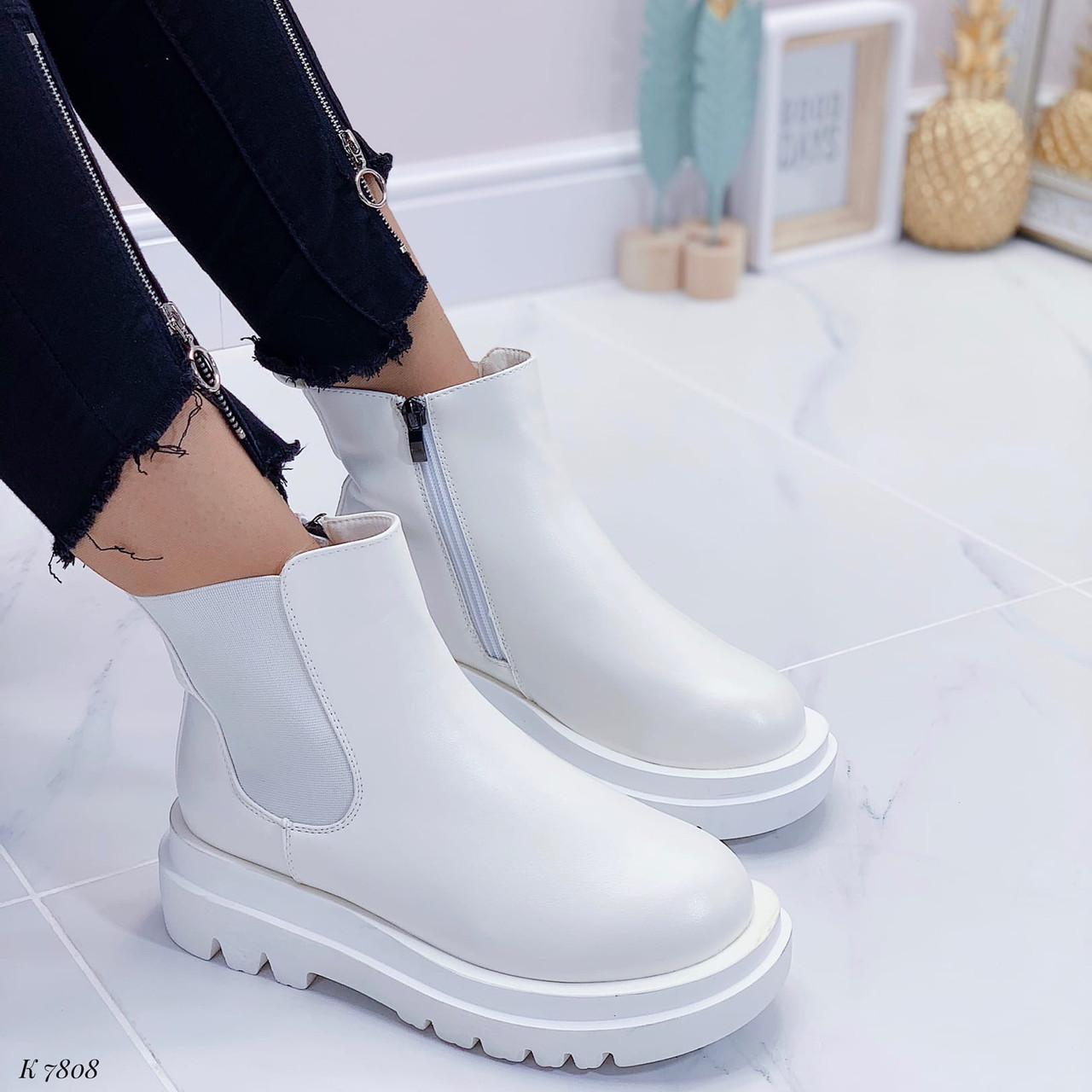 Женские ботинки ДЕМИ / осенние белые эко кожа