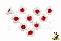Цветы Розы Красно-белые из фоамирана (латекса) 3 см 10 шт/уп