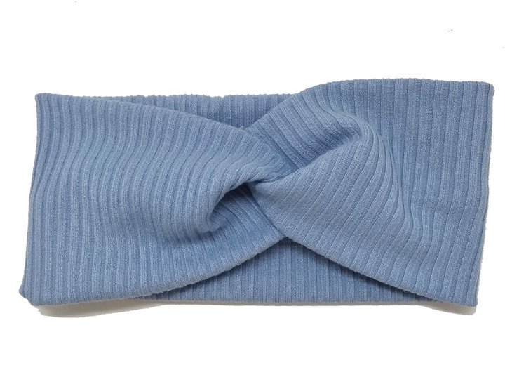 Повязка для волос голубая с переплетом