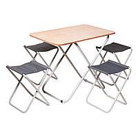 Комплект складной мебели для отдыха на природе антикоррозийным покрыт. Влагостойкий Пикник Стол складной + 4 стула раскладные