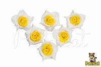 Цветы Розы Бело-желтые из фоамирана (латекса) 2 см 10 шт/уп