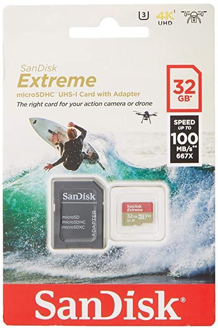 Карта пам'яті Sandisk MicroSDHC 32GB UHS-I U3 Extreme Action (SDSQXAF-032G-GN6AA) + adapter