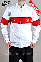 Мужская спортивная кофта Nike (Найк) Manchester United. (8500-3), свитшот, толстовка, реплика, копия, Белый