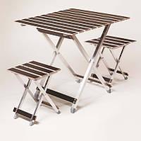 Комплект складной мебели для отдыха на природе в чехле стол туристич. раскладной 2 складные стульчика ALUWOOD