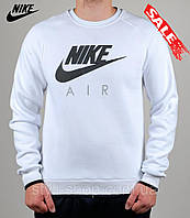 Мужская теплая спортивная кофта Nike (Найк) (0442-3), свитшот, толстовка, копия, реплика, Белый