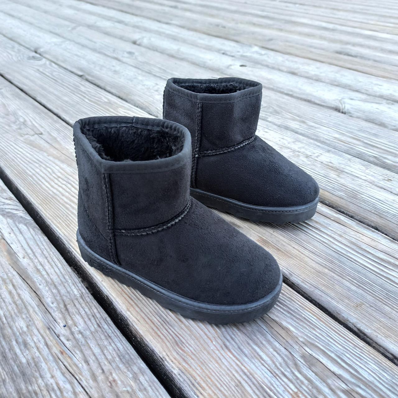 Угги UGG детские теплые ботиночки уггі дитячі сапожки черные эко замшевые