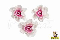 Цветы Розы Бело-розовые из фоамирана (латекса) 4 см 10 шт/уп
