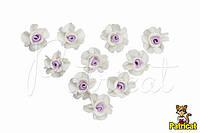 Маленькие цветочки 1.5 см бело-сиреневые для скрапбукинга 10 шт/уп
