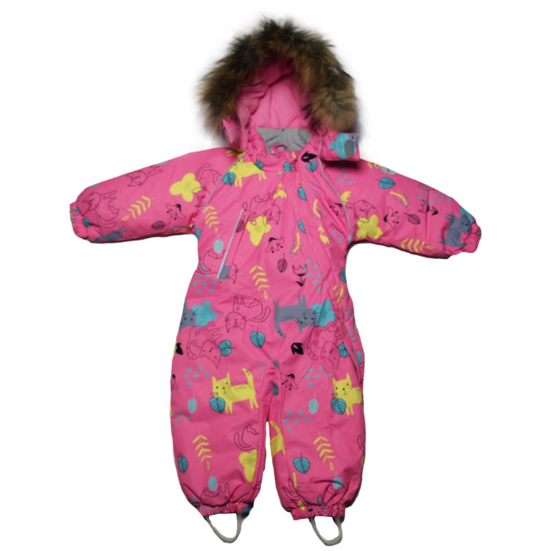 Детский зимний сплошной термо комбинезон  для девочки 98 рост розовый