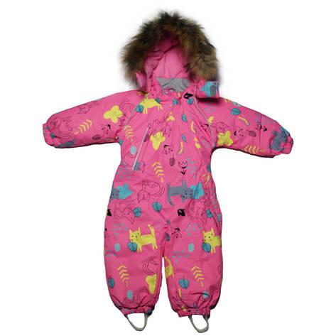 Детский зимний сплошной термо комбинезон  для девочки 98 рост розовый, фото 2