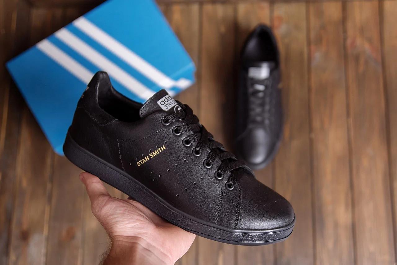 Мужские кожаные кеды в стиле  Stan Smith Black RUNNING  ПК-А14-1