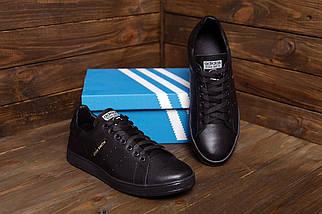Мужские кожаные кеды в стиле  Stan Smith Black RUNNING  ПК-А14-1, фото 3