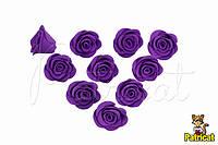 Цветы Розы Фиолетовые из Фоамирана (латекса) 2 см 10 шт/уп