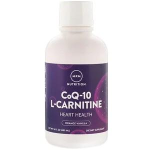 MRM, Коэнзим Q-10, 100 мг с L-карнитином 1000 мг, с натуральным ароматизатором апельсина,480 мл