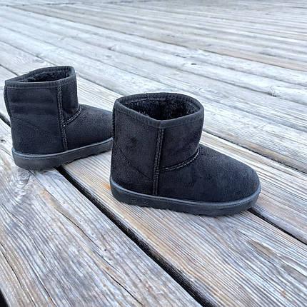 Уггі UGG дитячі теплі черевички уггі дитячі чобітки чорні еко замшеві, фото 2