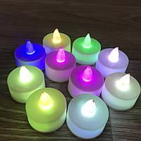 Электронные светодиодные свечи 10шт/упак 37х40мм, цветные с батарейкой