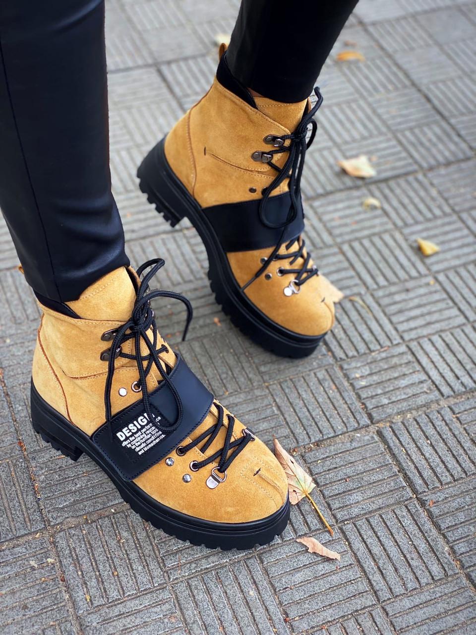Женские зимние ботинки из нубука 36-40 р светло коричневый
