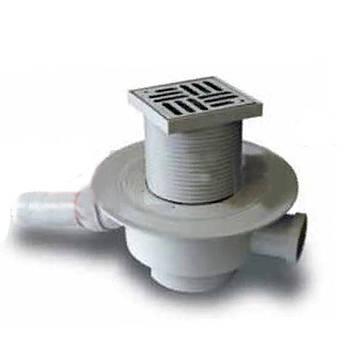 Трап с нержавеющей решеткой 100x100мм горизонтальный и поворотный отвод с запорным нж. шаром Europlast Ду 50