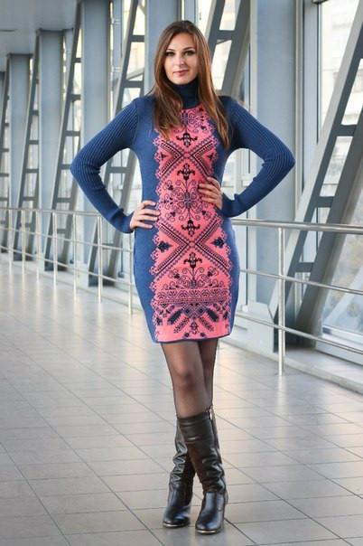 Женское платье машинная вязка - Ольга