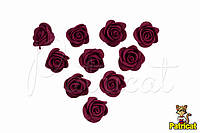 Цветы Розы Бордовые из фоамирана (латекса) 2 см 10 шт/уп