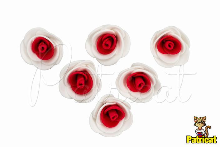Цветы Розы Красно-белые из фоамирана (латекса) 3 см 10 шт/уп, фото 1