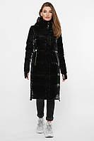 Длинная черная зимняя куртка женская с капюшоном