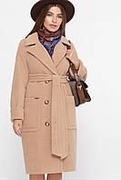 Модное бежевое женское пальто с поясом бежевое